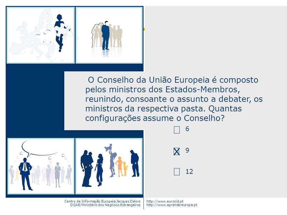 Centro de Informação Europeia Jacques Delors DGAE/Ministério dos Negócios Estrangeiros http://www.eurocid.pt http://www.aprendereuropa.pt O Conselho d