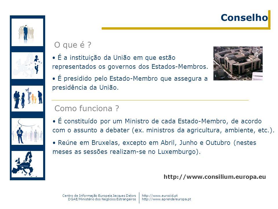 Centro de Informação Europeia Jacques Delors DGAE/Ministério dos Negócios Estrangeiros http://www.eurocid.pt http://www.aprendereuropa.pt É a institui