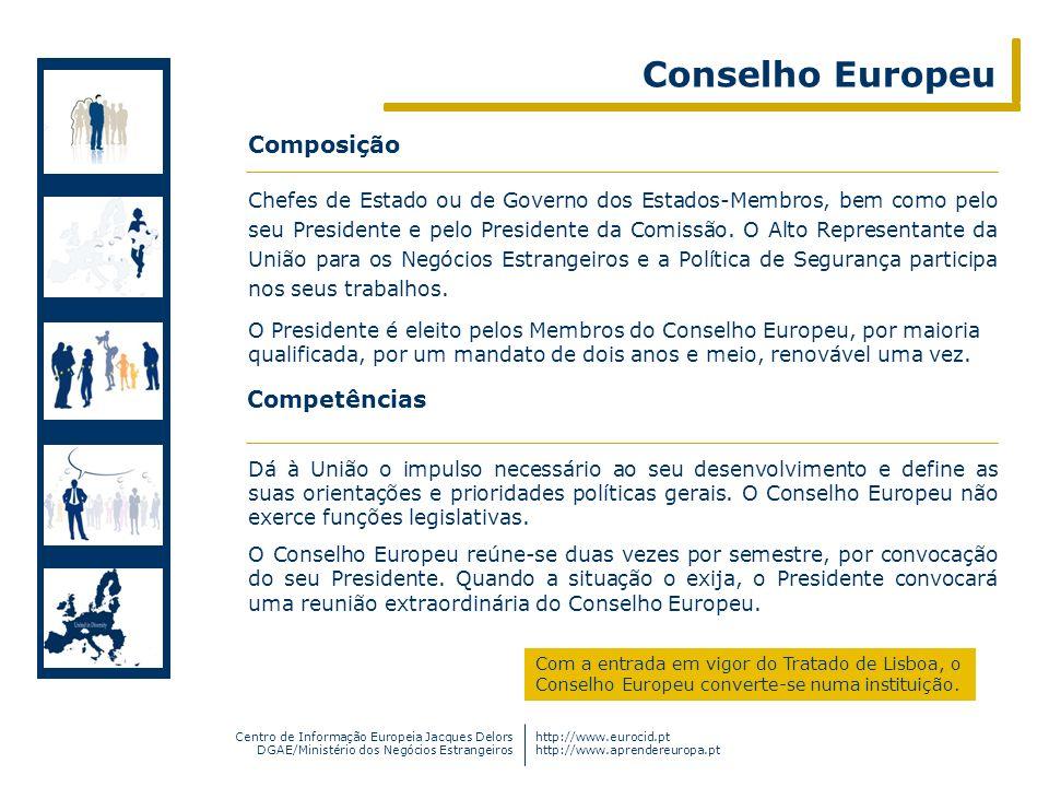 Centro de Informação Europeia Jacques Delors DGAE/Ministério dos Negócios Estrangeiros http://www.eurocid.pt http://www.aprendereuropa.pt Dá à União o
