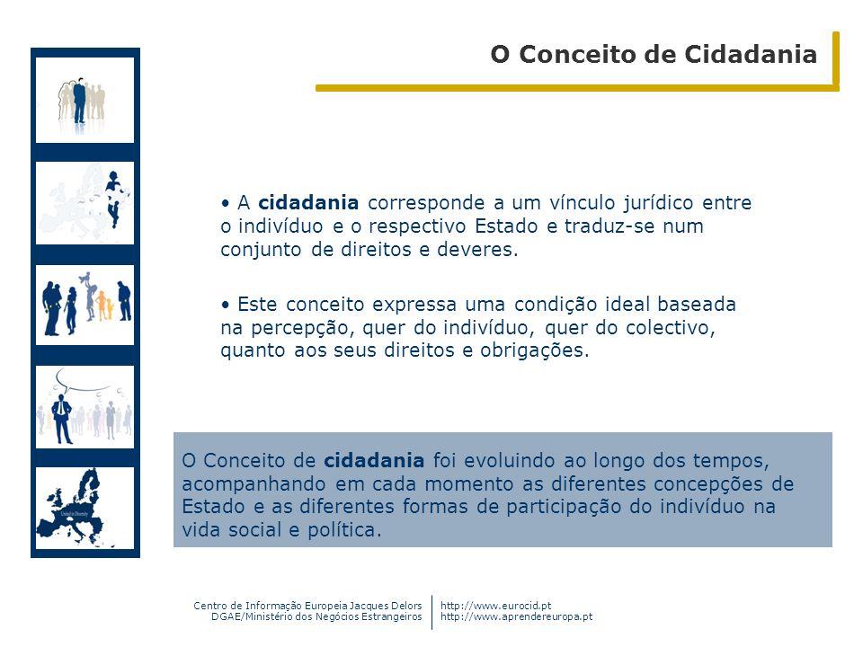 Centro de Informação Europeia Jacques Delors DGAE/Ministério dos Negócios Estrangeiros http://www.eurocid.pt http://www.aprendereuropa.pt A cidadania