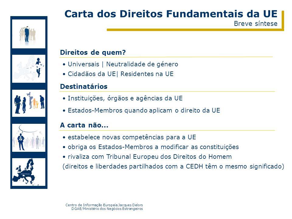 Centro de Informação Europeia Jacques Delors DGAE/Ministério dos Negócios Estrangeiros http://www.eurocid.pt http://www.aprendereuropa.pt Universais |