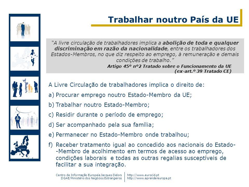 Centro de Informação Europeia Jacques Delors DGAE/Ministério dos Negócios Estrangeiros http://www.eurocid.pt http://www.aprendereuropa.pt A livre circ
