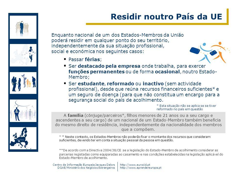 Centro de Informação Europeia Jacques Delors DGAE/Ministério dos Negócios Estrangeiros http://www.eurocid.pt http://www.aprendereuropa.pt A família (c