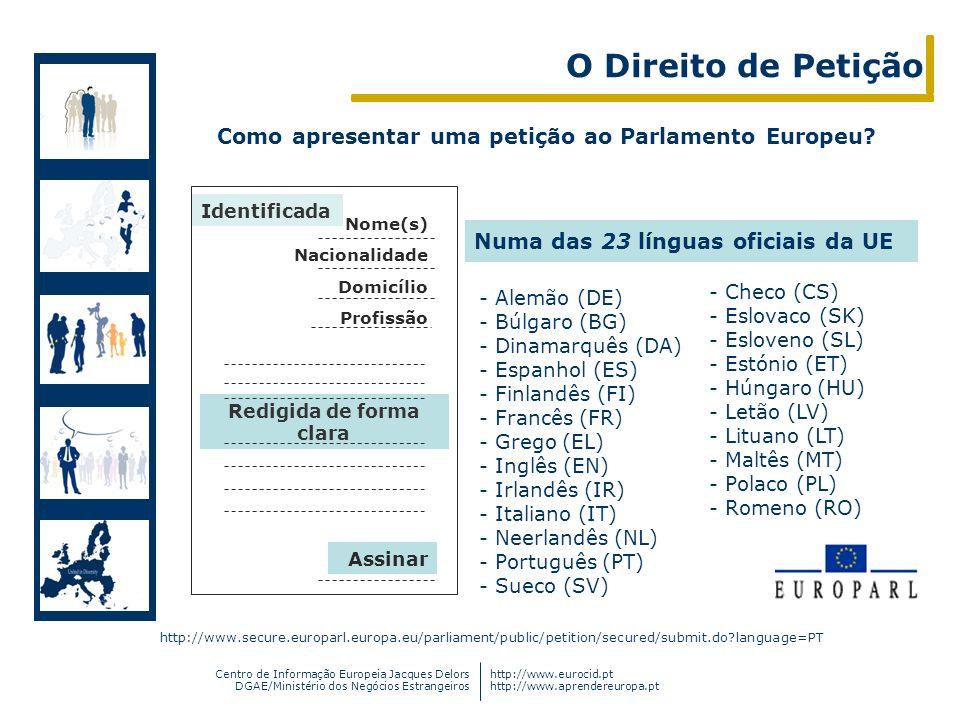 Centro de Informação Europeia Jacques Delors DGAE/Ministério dos Negócios Estrangeiros http://www.eurocid.pt http://www.aprendereuropa.pt Como apresen