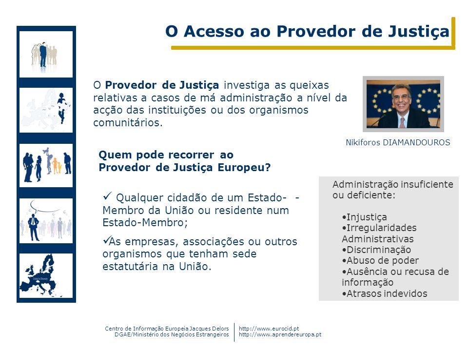 Centro de Informação Europeia Jacques Delors DGAE/Ministério dos Negócios Estrangeiros http://www.eurocid.pt http://www.aprendereuropa.pt O Acesso ao