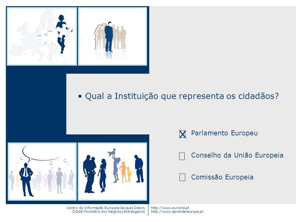 Centro de Informação Europeia Jacques Delors DGAE/Ministério dos Negócios Estrangeiros http://www.eurocid.pt http://www.aprendereuropa.pt Qual a Insti