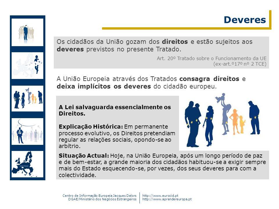 Centro de Informação Europeia Jacques Delors DGAE/Ministério dos Negócios Estrangeiros http://www.eurocid.pt http://www.aprendereuropa.pt Deveres Os c