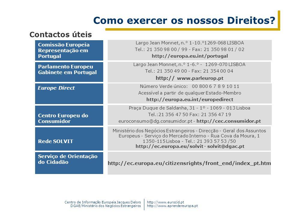 Centro de Informação Europeia Jacques Delors DGAE/Ministério dos Negócios Estrangeiros http://www.eurocid.pt http://www.aprendereuropa.pt Como exercer