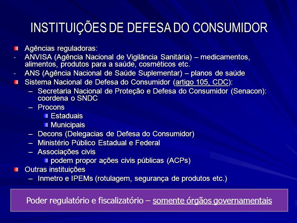 INSTITUIÇÕES DE DEFESA DO CONSUMIDOR Agências reguladoras: - ANVISA (Agência Nacional de Vigilância Sanitária) – medicamentos, alimentos, produtos par