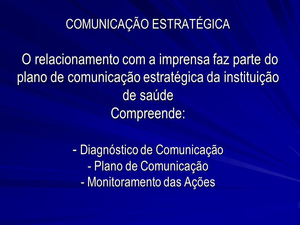 COMUNICAÇÃO ESTRATÉGICA O relacionamento com a imprensa faz parte do plano de comunicação estratégica da instituição de saúde Compreende: - Diagnóstic