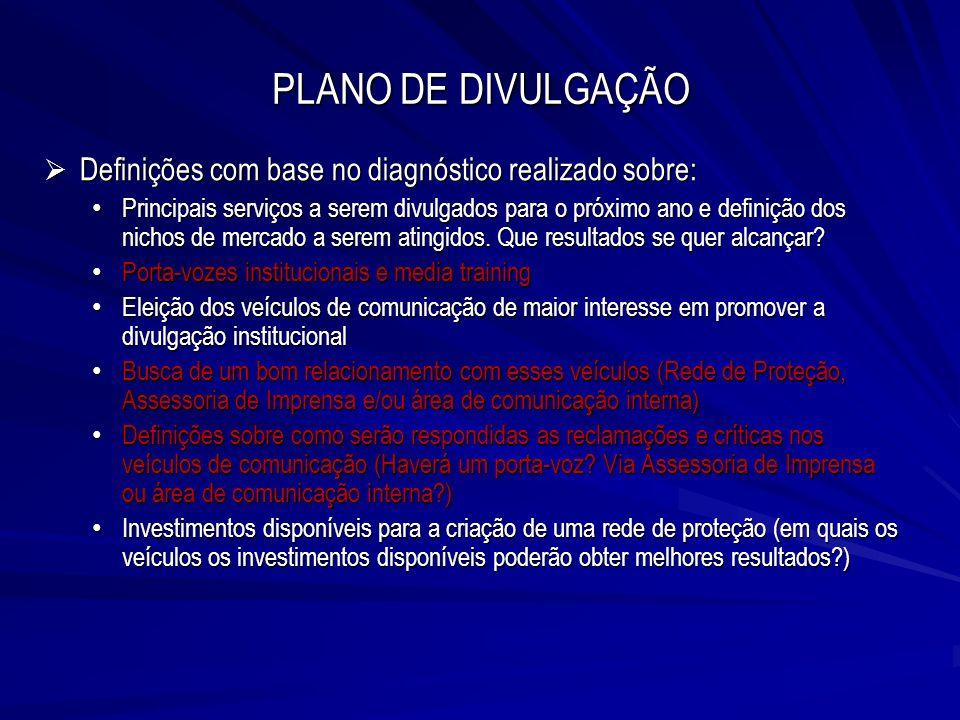 PLANO DE DIVULGAÇÃO Definições com base no diagnóstico realizado sobre: Definições com base no diagnóstico realizado sobre: Principais serviços a sere