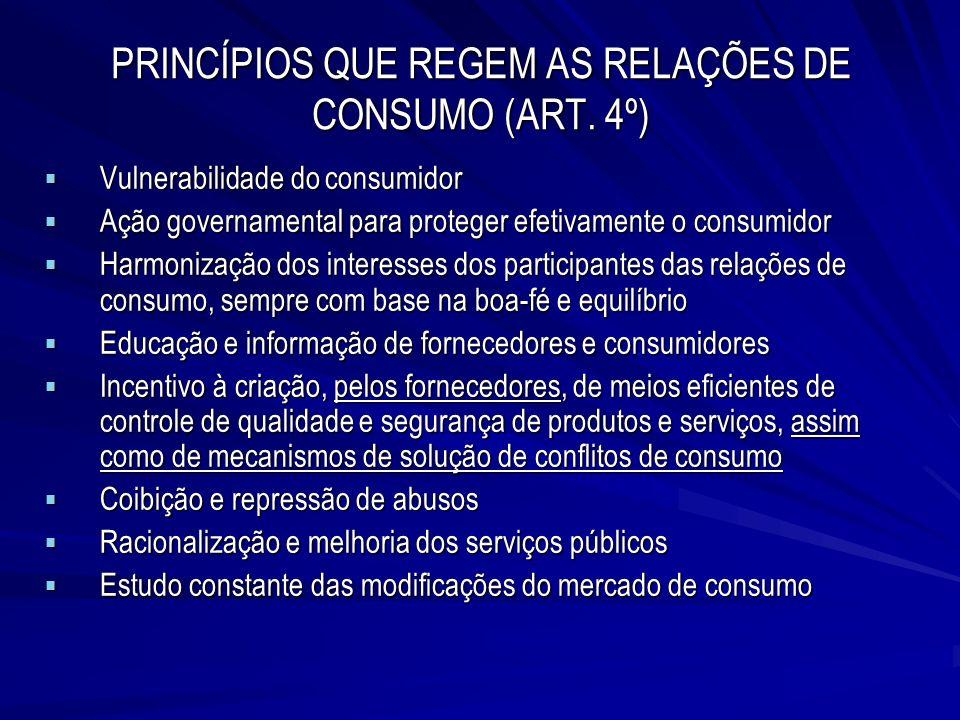 PRINCÍPIOS QUE REGEM AS RELAÇÕES DE CONSUMO (ART. 4º) Vulnerabilidade do consumidor Vulnerabilidade do consumidor Ação governamental para proteger efe