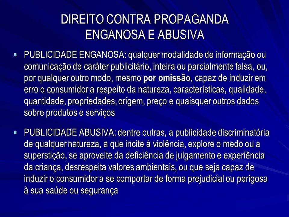 DIREITO CONTRA PROPAGANDA ENGANOSA E ABUSIVA PUBLICIDADE ENGANOSA: qualquer modalidade de informação ou comunicação de caráter publicitário, inteira o