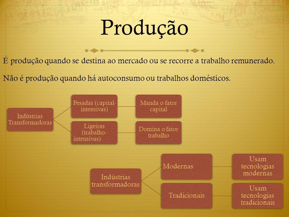 Produção É produção quando se destina ao mercado ou se recorre a trabalho remunerado. Não é produção quando há autoconsumo ou trabalhos domésticos. In