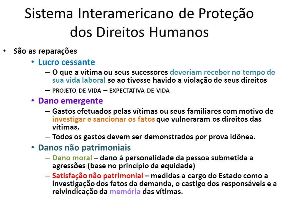 Sistema Interamericano de Proteção dos Direitos Humanos São as reparações Lucro cessante – O que a vítima ou seus sucessores deveriam receber no tempo