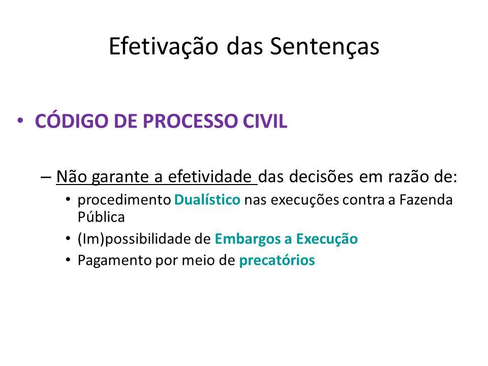 Efetivação das Sentenças CÓDIGO DE PROCESSO CIVIL – Não garante a efetividade das decisões em razão de: procedimento Dualístico nas execuções contra a