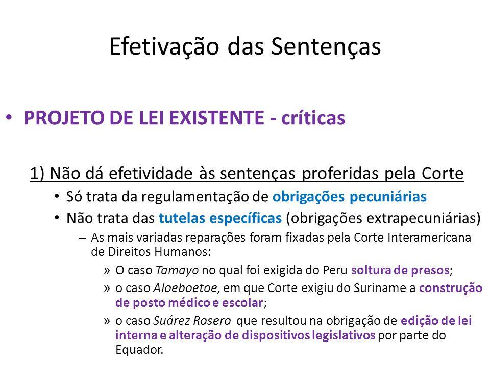Efetivação das Sentenças PROJETO DE LEI EXISTENTE - críticas 1) Não dá efetividade às sentenças proferidas pela Corte Só trata da regulamentação de ob