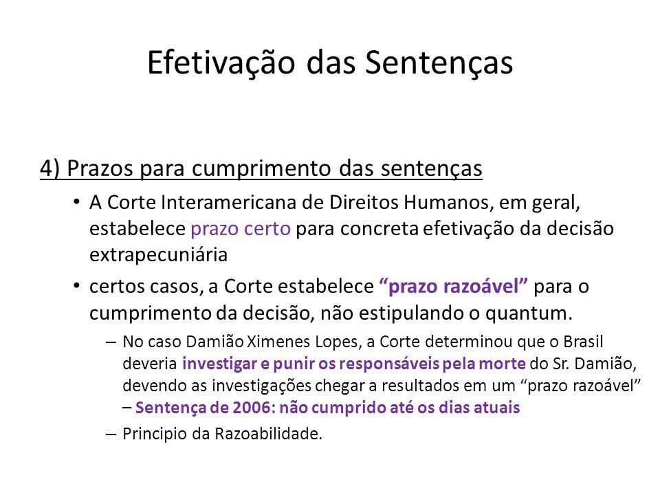 Efetivação das Sentenças 4) Prazos para cumprimento das sentenças A Corte Interamericana de Direitos Humanos, em geral, estabelece prazo certo para co