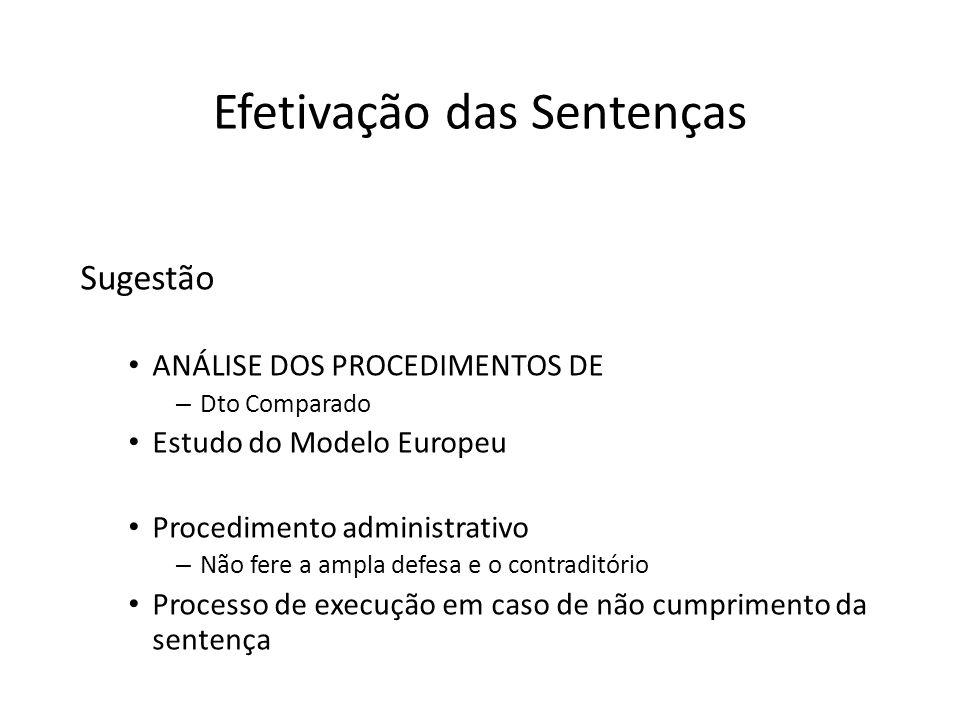 Efetivação das Sentenças Sugestão ANÁLISE DOS PROCEDIMENTOS DE – Dto Comparado Estudo do Modelo Europeu Procedimento administrativo – Não fere a ampla