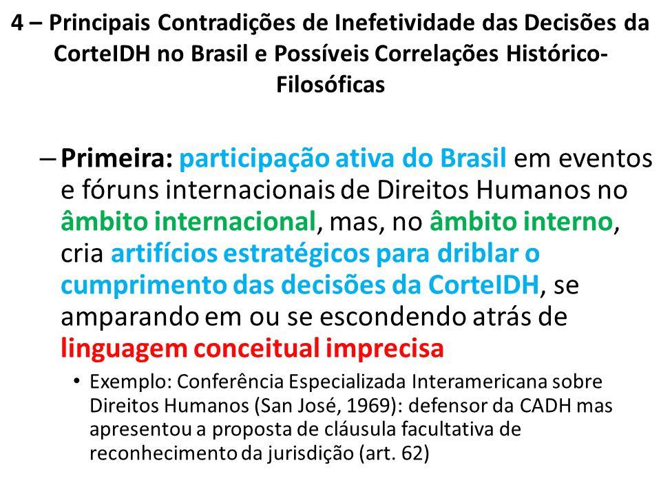 4 – Principais Contradições de Inefetividade das Decisões da CorteIDH no Brasil e Possíveis Correlações Histórico- Filosóficas – Primeira: participaçã