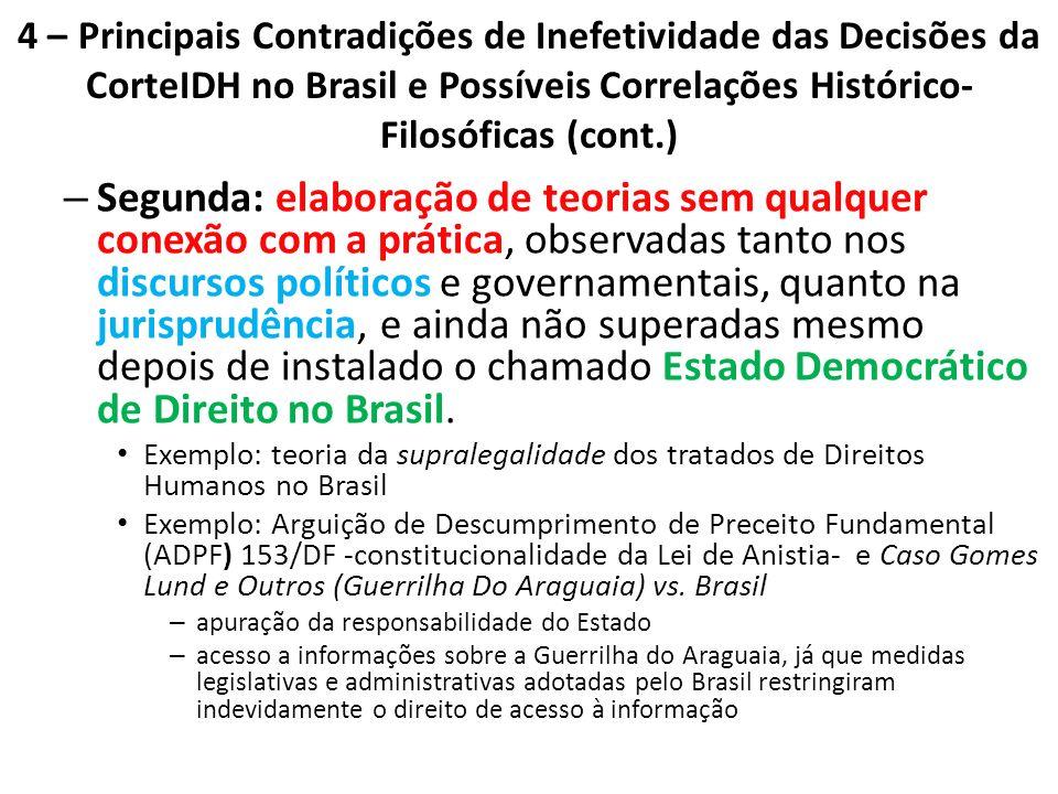 4 – Principais Contradições de Inefetividade das Decisões da CorteIDH no Brasil e Possíveis Correlações Histórico- Filosóficas (cont.) – Segunda: elab