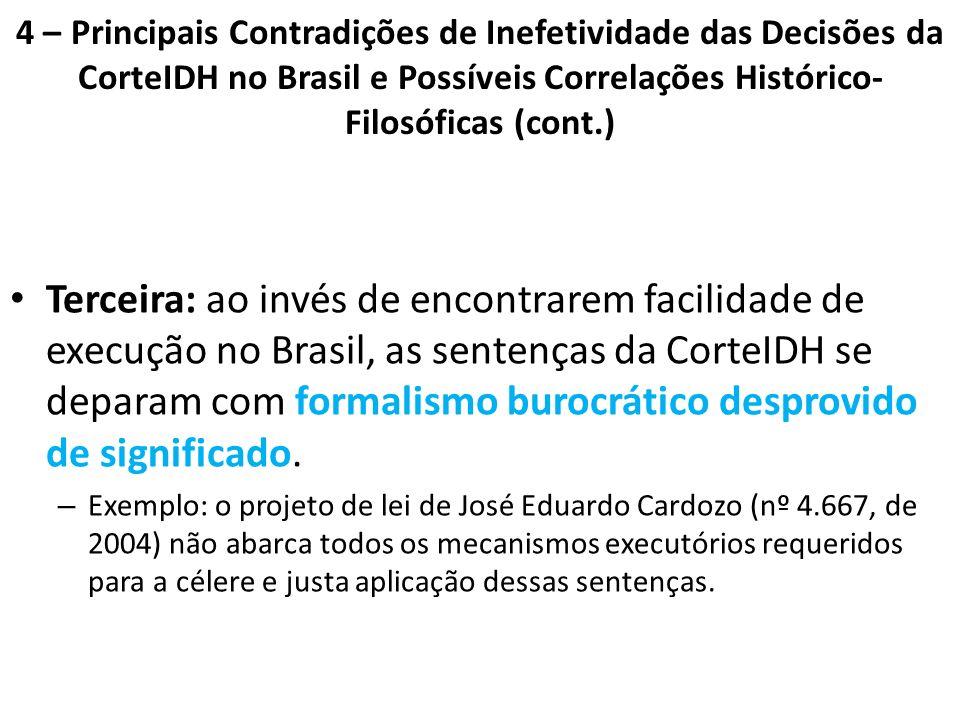 4 – Principais Contradições de Inefetividade das Decisões da CorteIDH no Brasil e Possíveis Correlações Histórico- Filosóficas (cont.) Terceira: ao in