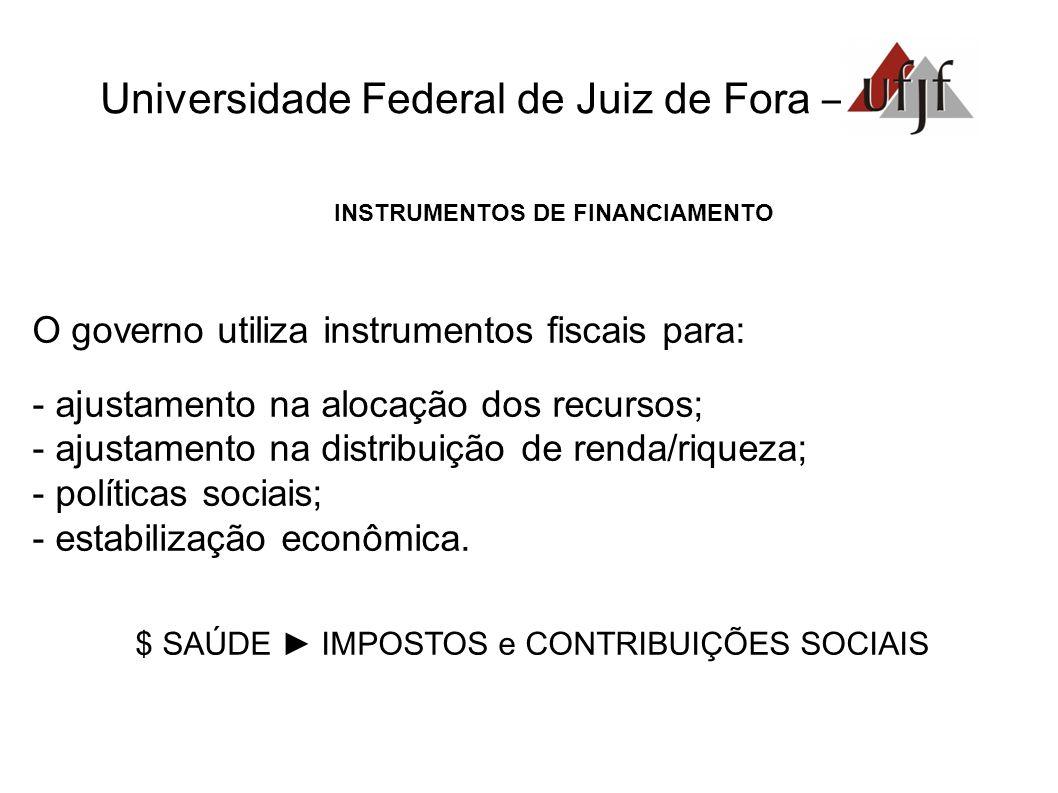 Universidade Federal de Juiz de Fora – INSTRUMENTOS DE FINANCIAMENTO O governo utiliza instrumentos fiscais para: - ajustamento na alocação dos recurs