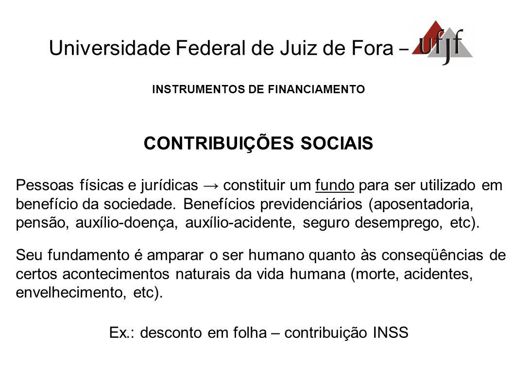 Universidade Federal de Juiz de Fora – INSTRUMENTOS DE FINANCIAMENTO CONTRIBUIÇÕES SOCIAIS Pessoas físicas e jurídicas constituir um fundo para ser ut