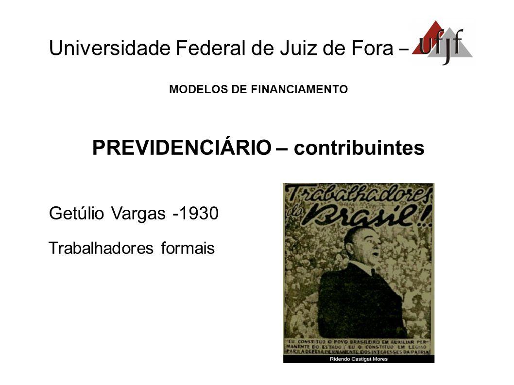 Universidade Federal de Juiz de Fora – MODELOS DE FINANCIAMENTO PREVIDENCIÁRIO – contribuintes Getúlio Vargas -1930 Trabalhadores formais