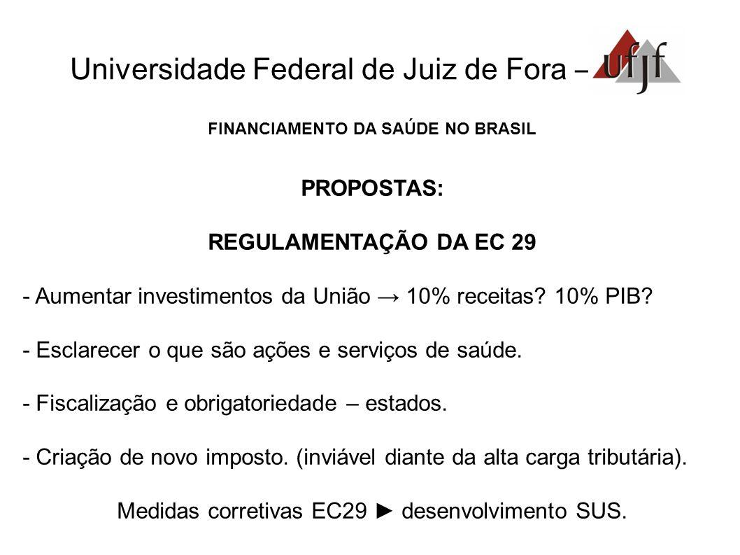 Universidade Federal de Juiz de Fora – FINANCIAMENTO DA SAÚDE NO BRASIL PROPOSTAS: REGULAMENTAÇÃO DA EC 29 - Aumentar investimentos da União 10% recei