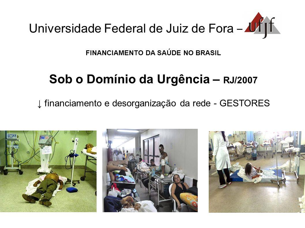 Universidade Federal de Juiz de Fora – FINANCIAMENTO DA SAÚDE NO BRASIL Sob o Domínio da Urgência – RJ/2007 financiamento e desorganização da rede - G