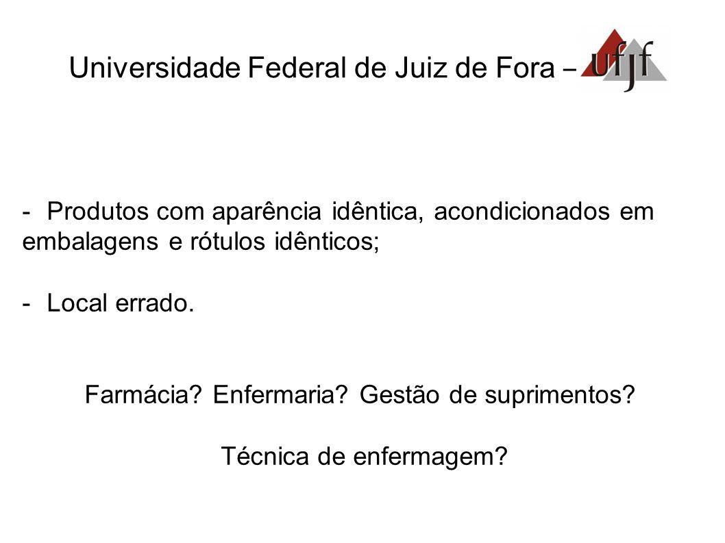 Universidade Federal de Juiz de Fora – -Produtos com aparência idêntica, acondicionados em embalagens e rótulos idênticos; -Local errado. Farmácia? En