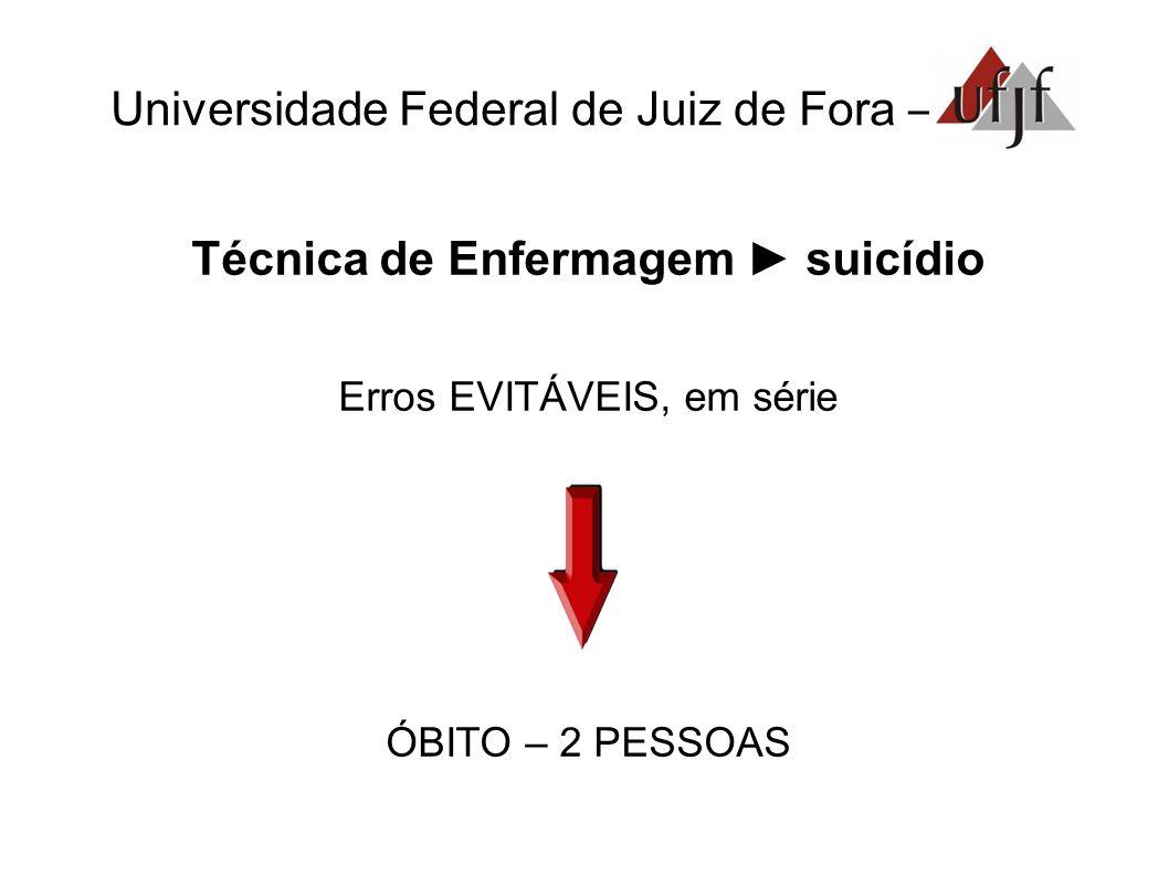 Universidade Federal de Juiz de Fora – Técnica de Enfermagem suicídio Erros EVITÁVEIS, em série ÓBITO – 2 PESSOAS