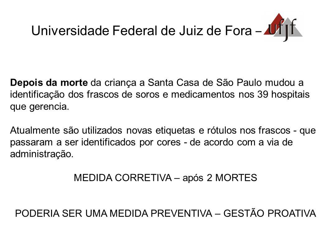 Universidade Federal de Juiz de Fora – Depois da morte da criança a Santa Casa de São Paulo mudou a identificação dos frascos de soros e medicamentos