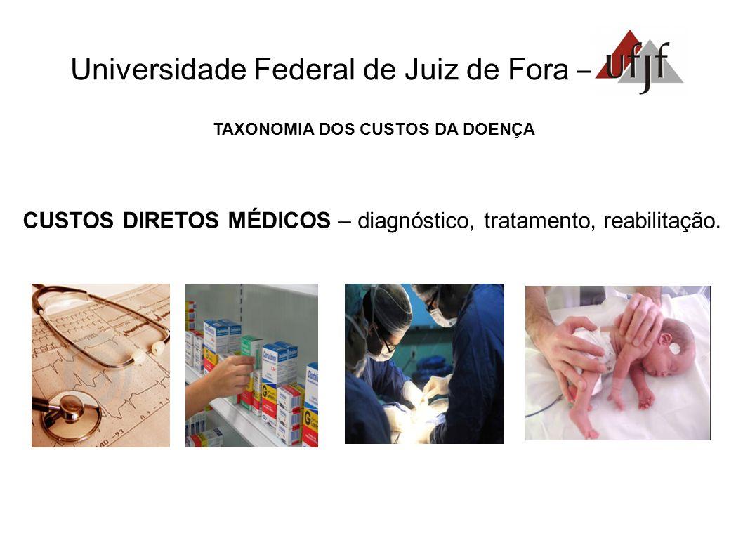 Universidade Federal de Juiz de Fora – TAXONOMIA DOS CUSTOS DA DOENÇA CUSTOS DIRETOS MÉDICOS – diagnóstico, tratamento, reabilitação.