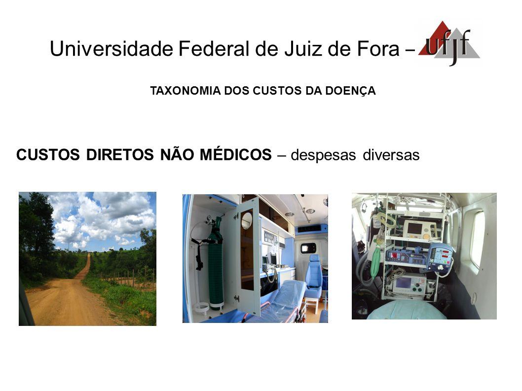 Universidade Federal de Juiz de Fora – TAXONOMIA DOS CUSTOS DA DOENÇA CUSTOS DIRETOS NÃO MÉDICOS – despesas diversas
