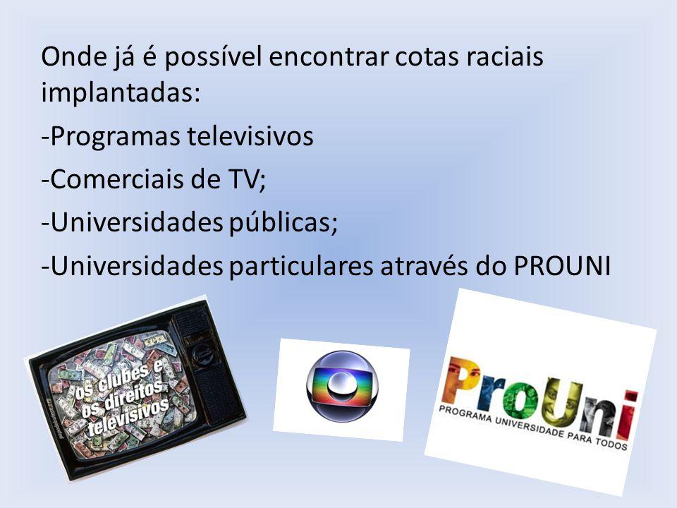 Onde já é possível encontrar cotas raciais implantadas: -Programas televisivos -Comerciais de TV; -Universidades públicas; -Universidades particulares