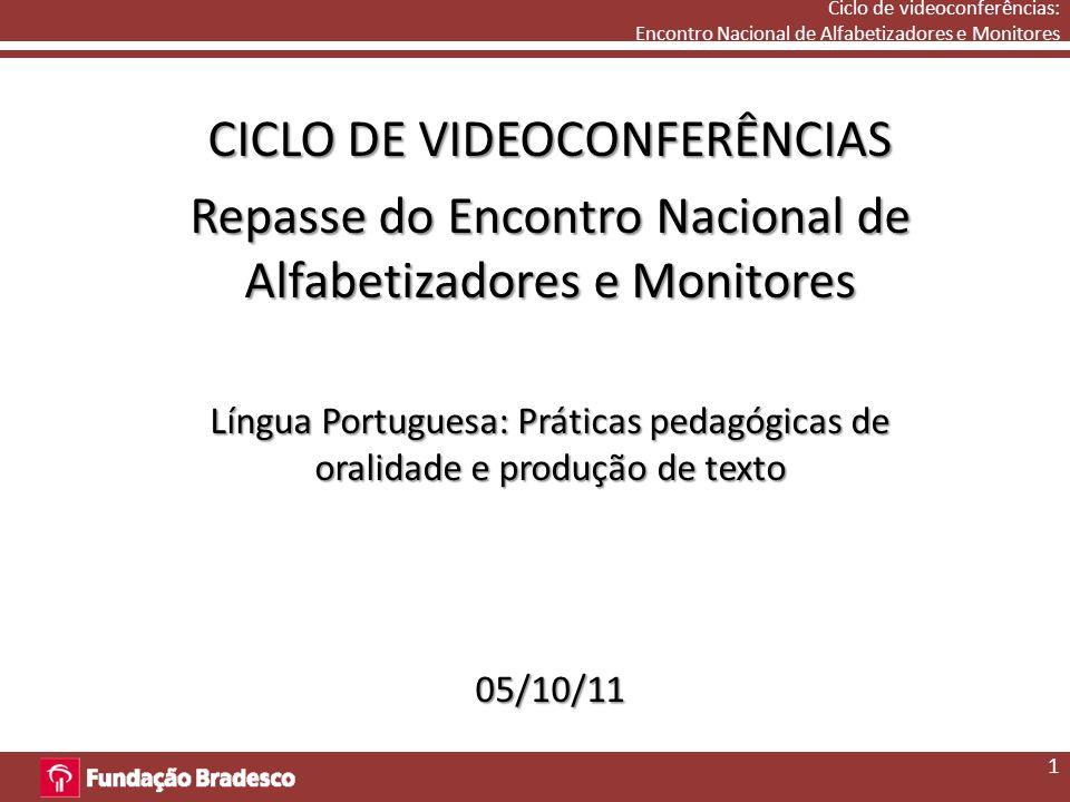 Ciclo de videoconferências: Encontro Nacional de Alfabetizadores e Monitores CICLO DE VIDEOCONFERÊNCIAS Repasse do Encontro Nacional de Alfabetizadores e Monitores Língua Portuguesa: Práticas pedagógicas de oralidade e produção de texto 05/10/11 1