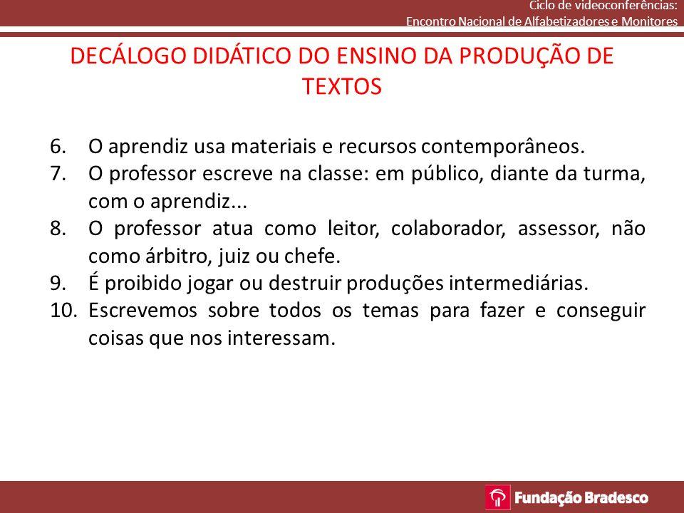 6.O aprendiz usa materiais e recursos contemporâneos. 7.O professor escreve na classe: em público, diante da turma, com o aprendiz... 8.O professor at