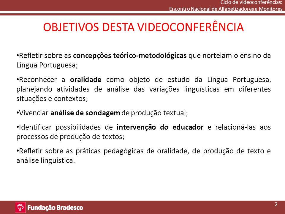 Ciclo de videoconferências: Encontro Nacional de Alfabetizadores e Monitores OBJETIVOS DESTA VIDEOCONFERÊNCIA 2 Refletir sobre as concepções teórico-m