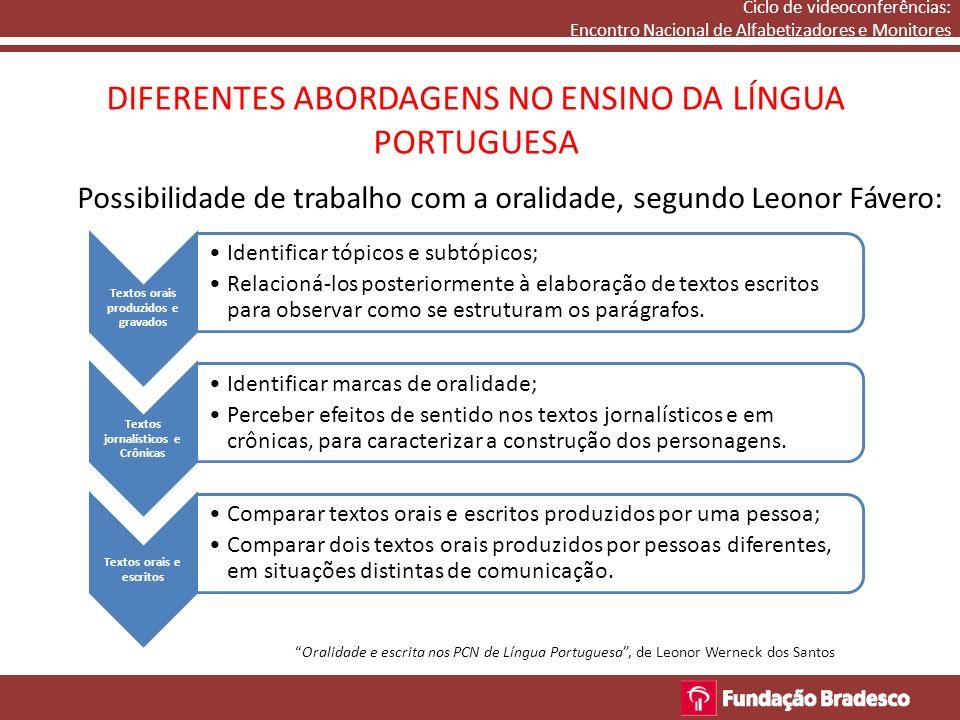 DIFERENTES ABORDAGENS NO ENSINO DA LÍNGUA PORTUGUESA Ciclo de videoconferências: Encontro Nacional de Alfabetizadores e Monitores Possibilidade de tra