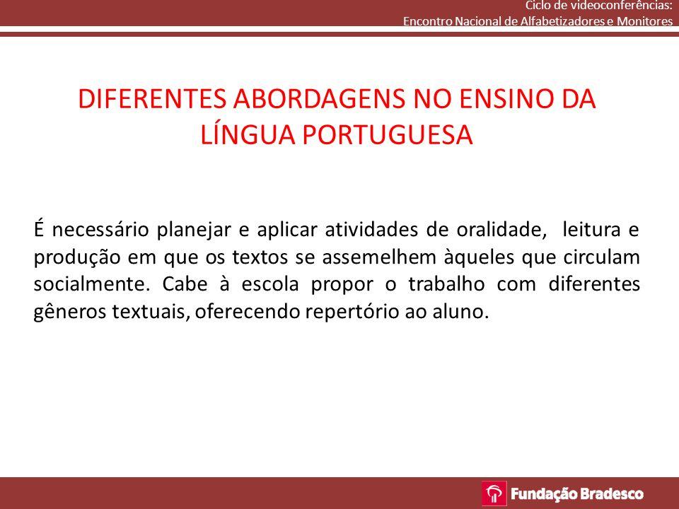 DIFERENTES ABORDAGENS NO ENSINO DA LÍNGUA PORTUGUESA Ciclo de videoconferências: Encontro Nacional de Alfabetizadores e Monitores É necessário planeja
