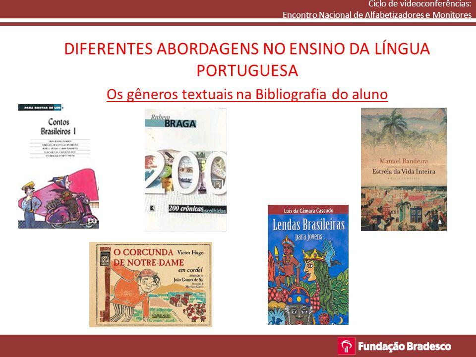 DIFERENTES ABORDAGENS NO ENSINO DA LÍNGUA PORTUGUESA Ciclo de videoconferências: Encontro Nacional de Alfabetizadores e Monitores Os gêneros textuais na Bibliografia do aluno