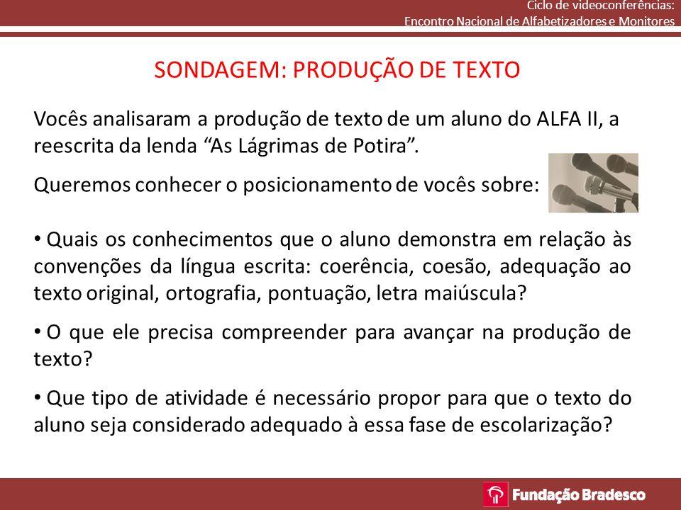 Ciclo de videoconferências: Encontro Nacional de Alfabetizadores e Monitores SONDAGEM: PRODUÇÃO DE TEXTO Vocês analisaram a produção de texto de um aluno do ALFA II, a reescrita da lenda As Lágrimas de Potira.