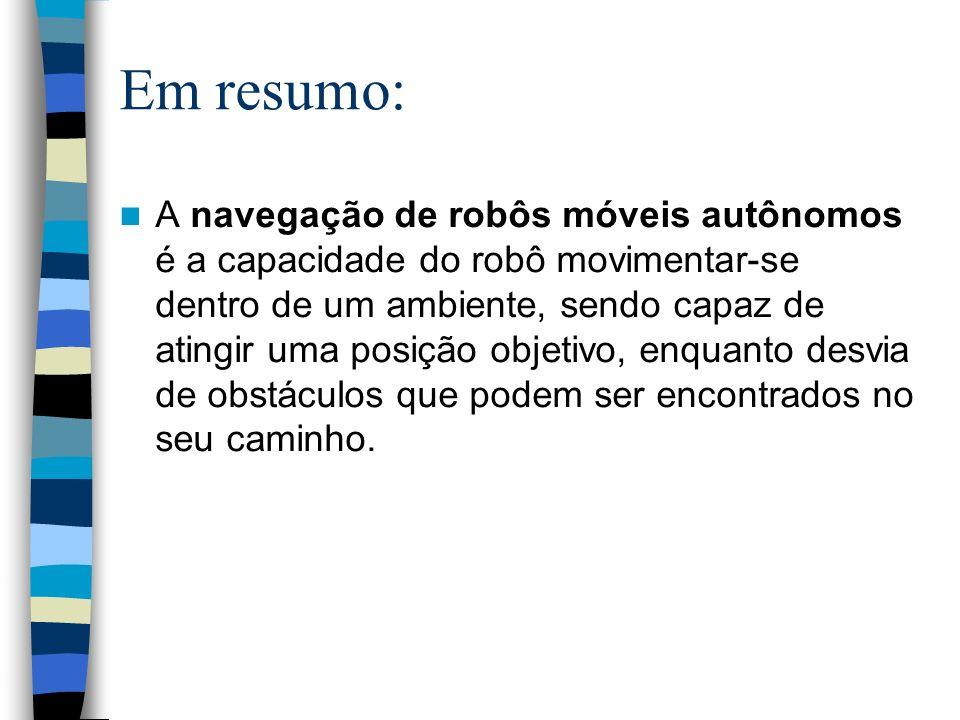 Em resumo: A navegação de robôs móveis autônomos é a capacidade do robô movimentar-se dentro de um ambiente, sendo capaz de atingir uma posição objeti