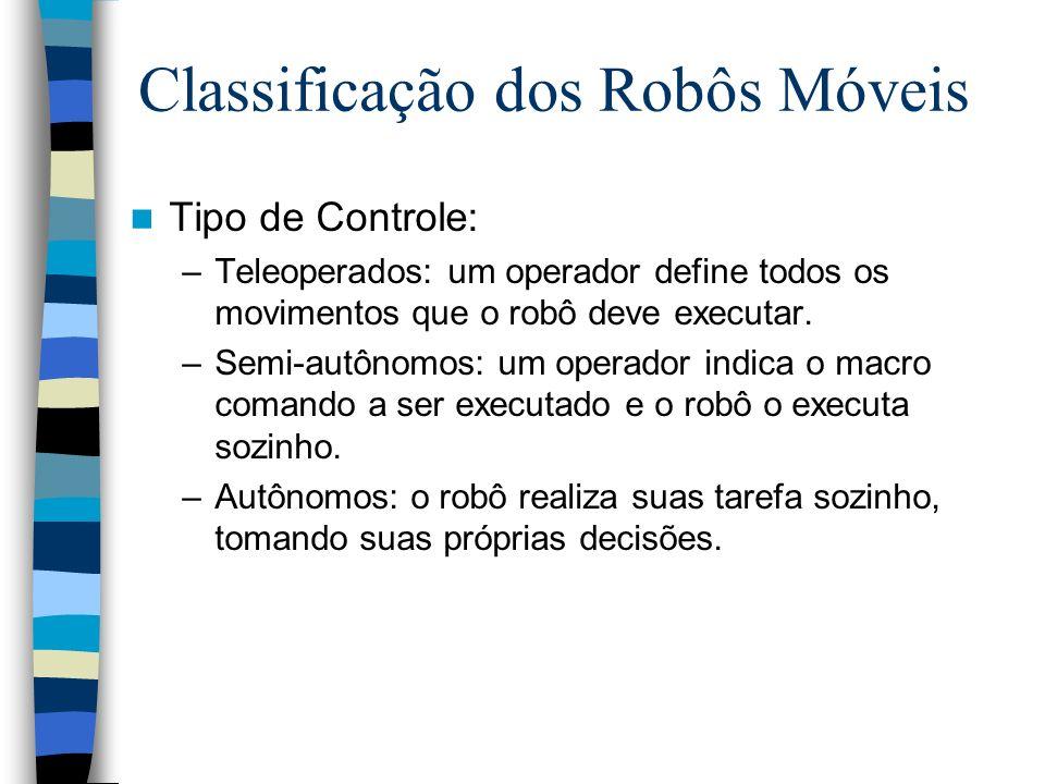 Tipo de Controle: –Teleoperados: um operador define todos os movimentos que o robô deve executar. –Semi-autônomos: um operador indica o macro comando