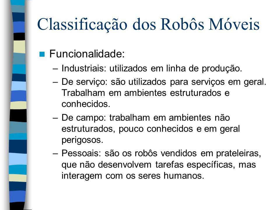 Funcionalidade: –Industriais: utilizados em linha de produção. –De serviço: são utilizados para serviços em geral. Trabalham em ambientes estruturados