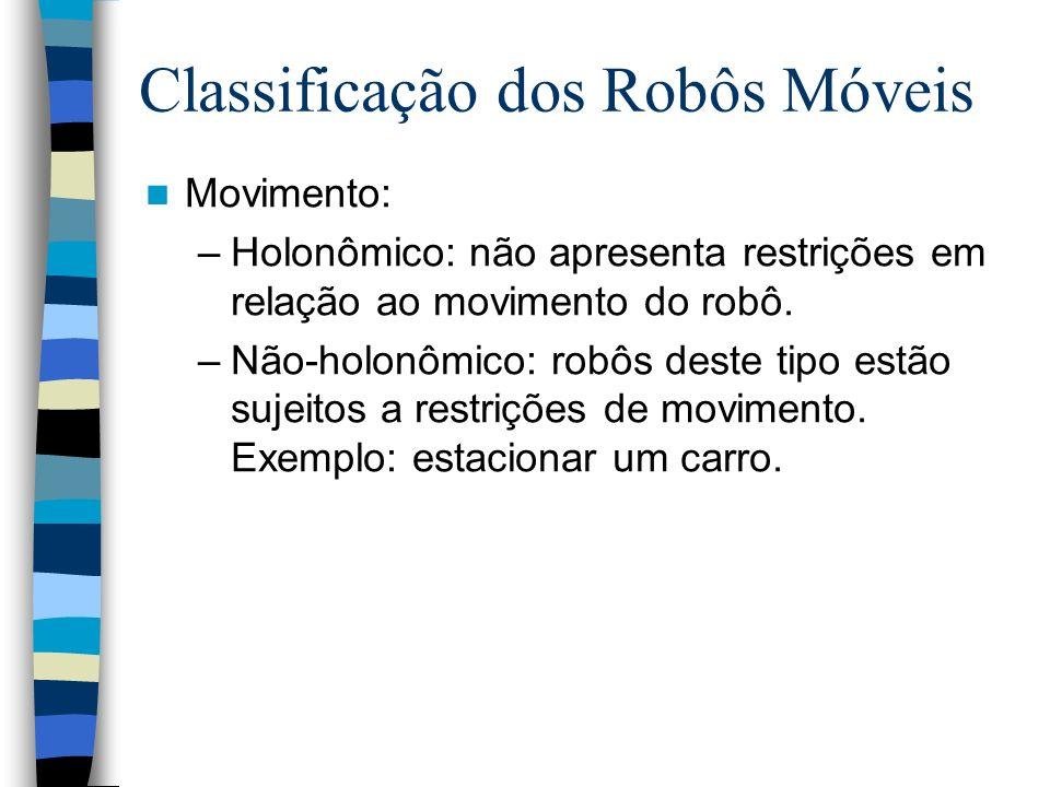 Movimento: –Holonômico: não apresenta restrições em relação ao movimento do robô. –Não-holonômico: robôs deste tipo estão sujeitos a restrições de mov