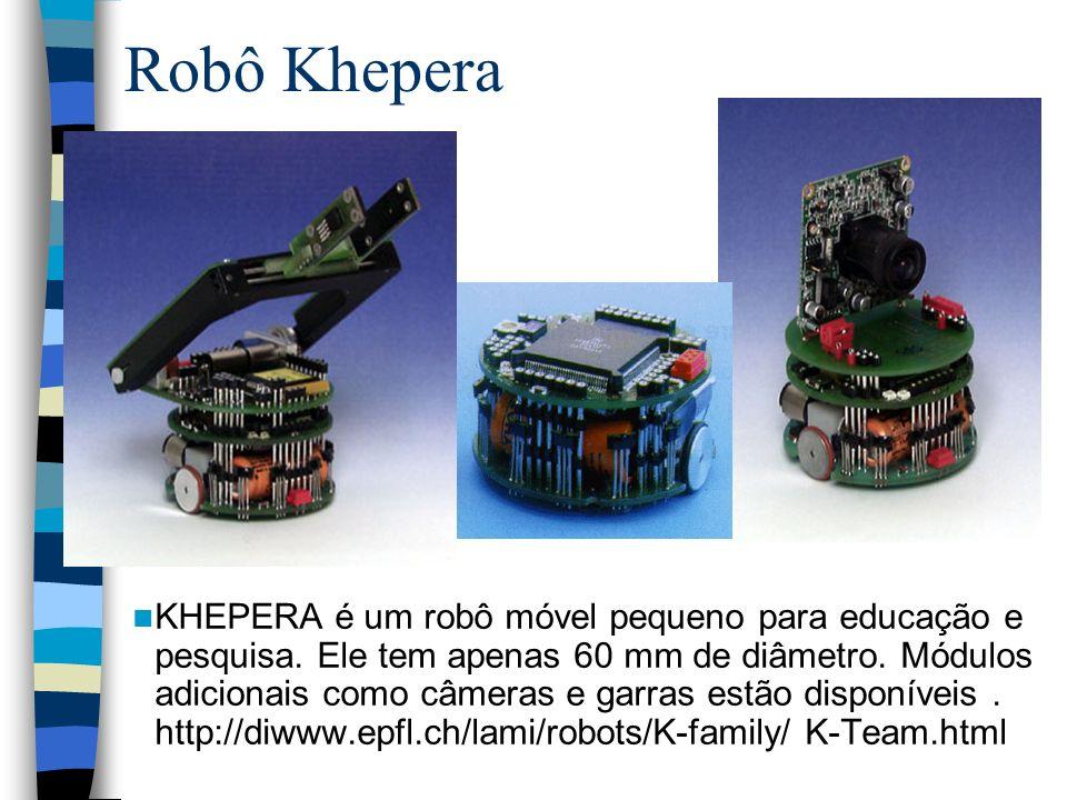 Robô Khepera KHEPERA é um robô móvel pequeno para educação e pesquisa. Ele tem apenas 60 mm de diâmetro. Módulos adicionais como câmeras e garras estã