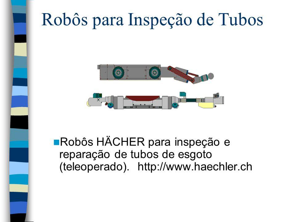 Robôs para Inspeção de Tubos Robôs HÄCHER para inspeção e reparação de tubos de esgoto (teleoperado). http://www.haechler.ch